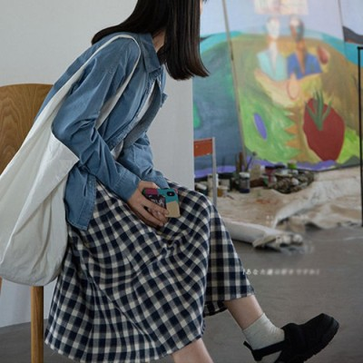 (miniministore/ミニミニストア)綿麻スカート ミモレ丈 チェック柄 可愛い/レディース その他