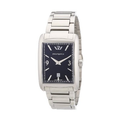 Philip Trafalgar Men's Quartz Watch with Black Dial Analogue Display and Silver Stainless Steel Strap R8253174001 並行輸入品