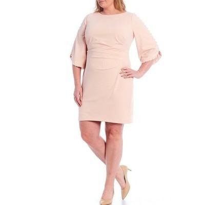 ジェシカハワード レディース ワンピース トップス Plus Size Pearl Trim Split Sleeve Scuba Sheath Dress