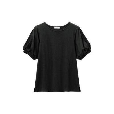 アロッタ Alotta 【5つの機能付】袖シフォン切替デザインTシャツ (ブラック)
