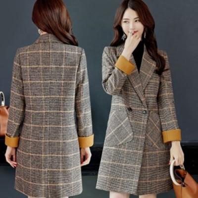 チェスターコート レディース アウター コート チェック柄コート ウール ロング 大きいサイズ 長袖 きれいめ エレガント