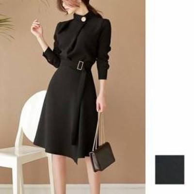 ドレス ワンピース ひざ丈 長袖 20代 黒 かっちり きれいめ  フォーマル 上品 春夏 結婚式 お呼ばれ a453