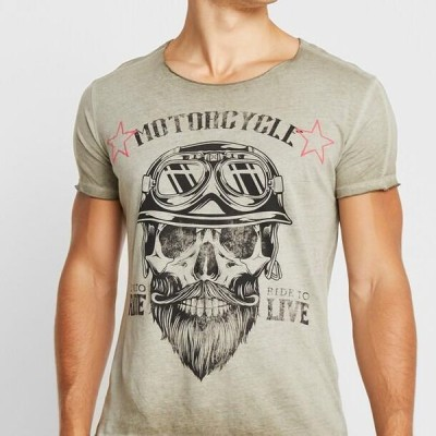メンズ ファッション MT BEARDED BIKER - Print T-shirt - military green