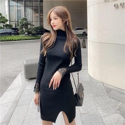 これ1つでレイヤード上手韓国ファッション スリムフィット ニット ワンビース 女性 秋 冬 長袖 タートルネック セーター レース セクシー タイトスカート