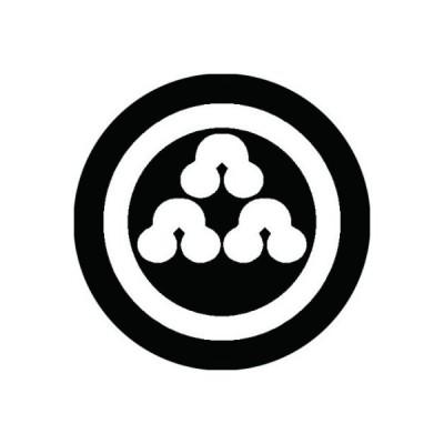 家紋シール 白紋黒地 丸に三つ盛り州浜 布タイプ 直径40mm 6枚セット NS4-0571W