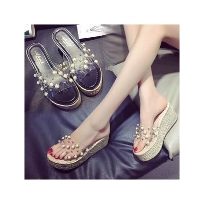 夏 サンダル ビーチサンダル 厚底サンダル シンプル シューズ 靴 レディース透明真珠  YYRB484