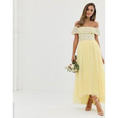 マヤ レディース ワンピース トップス Maya Bridesmaid delicate sequin bardot high low maxi dress in lemon