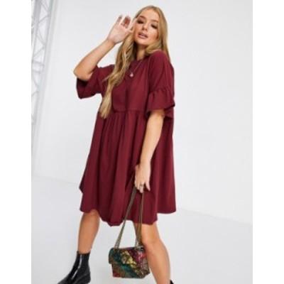 エイソス レディース ワンピース トップス ASOS DESIGN super oversized frill sleeve smock dress in burgundy Burgundy