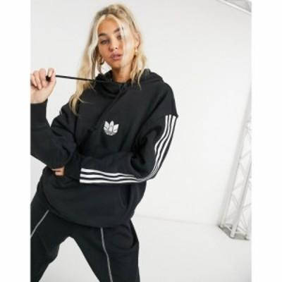 アディダス adidas Originals レディース パーカー トップス Adicolour 3D Logo Three Stripe Oversized Hoodie In Black ブラック