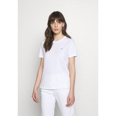カルバンクライン レディース Tシャツ トップス SMALL LOGO EMBROIDERED TEE - Basic T-shirt - white white