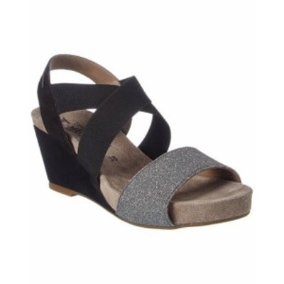 Mephisto メフィスト ファッション サンダル Mephisto Barbara Suede Wedge Sandal 11 Black