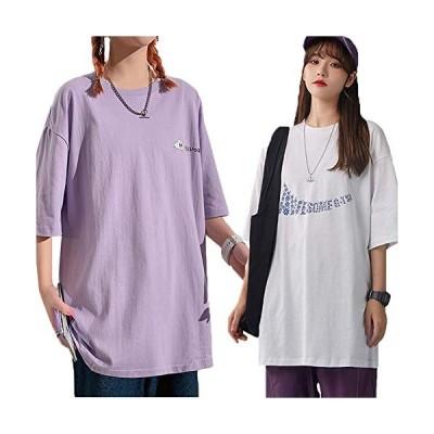 YKIbeauty tシャツ レディース オシャレ プリントTシャツ 2枚セット ロング丈 半袖 部屋着 楽ちん ビッグシルエッ