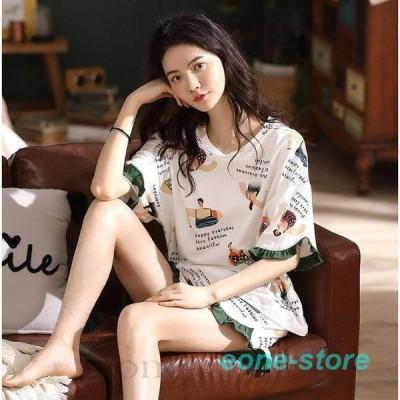 人気 パジャマ レディース 女子 学生 ルームウェア 綿 薄手 半袖Tシャツ +ショートパンツ  2点セット 着心地良い 快適 ネグリジェ 部屋着 寝巻き 夏新作 可愛い