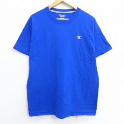 古着 半袖 ブランド Tシャツ チャンピオン Champion ワンポイントロゴ コットン クルーネック 青 ブルー Lサイズ 中古 メンズ Tシャツ 古