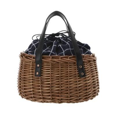 (BACKYARD/バックヤード)柳 かごバッグ PU持ち手 口部巾着/レディース ネイビー系1