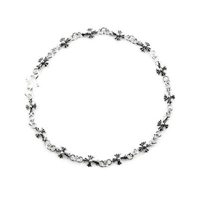 Silverlogy Sterling Silver 925 Link Anklet (Floral Cross)並行輸入品 送料無料