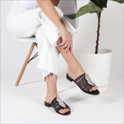 ユニセックス 靴 ミュール Cecelia New York Darleen Slide Sandal Black/Silver Stone Slip On Caged Mule Flat