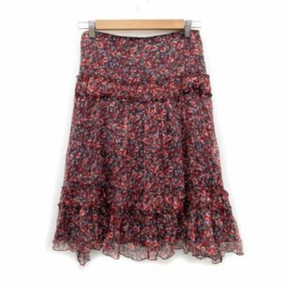 【中古】デュアルヴュー DUAL VIEW スカート フレア ミモレ丈 花柄 シルク 40 マルチカラー レッド 赤 レディース