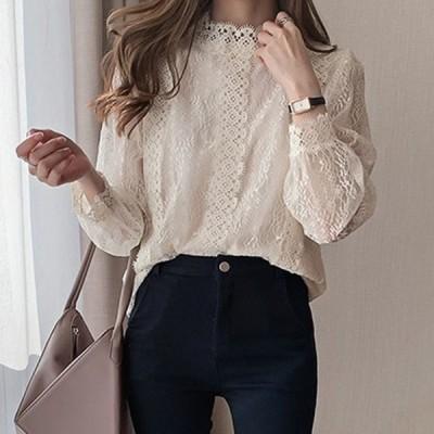 3色ブラウス レディース きれいめ 40代 シースルー 秋 上品 レースブラウス 長袖 ゆったり オシャレ 韓国風 大人 Tシャツ30代 50代