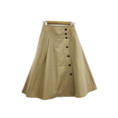 【中古】ナチュラルビューティーベーシック NATURAL BEAUTY BASIC スカート フレア ミモレ丈 タック フロントボタン M ベージュ レディース 【ベクトル 古着】