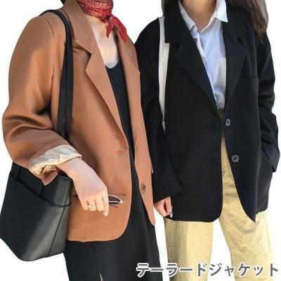 テーラードジャケットレディースアウター長袖無地テーラードミドル丈ポケット付き裏地付きすっきりお洒落こなれ感シック大人コート