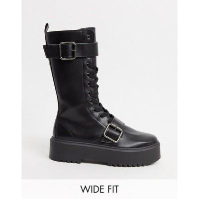 エイソス レディース ブーツ&レインブーツ シューズ ASOS DESIGN Wide Fit Ashford chunky buckle boots in black Black