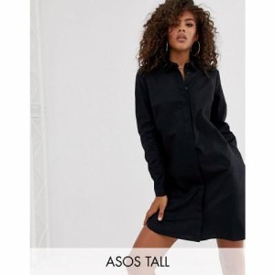 エイソス ASOS Tall レディース ワンピース シャツワンピース ワンピース・ドレス ASOS DESIGN Tall cotton mini shirt dress in black
