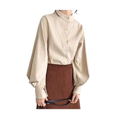 Qianqian シャツ レディース とろみシャツ パフスリーブ 長袖 おしゃれ 着痩せ 体型カバー ゆったり トップス カ?