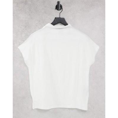 ヴェロモーダ Vero Moda レディース Tシャツ トップス t-shirt with high neck in white ホワイト