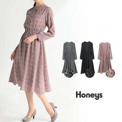 バンドカラーワンピース Honeys レディース ワンピース 長袖 きれいめ