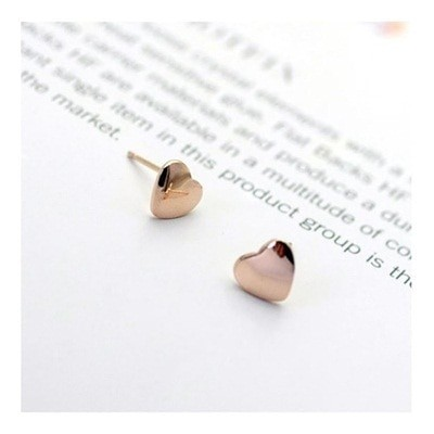 可愛い耳元の定番ピアス ピンクゴールドハートキュートなプチサイズのハートモチーフレディースアクセサリージュエリーK18RGP