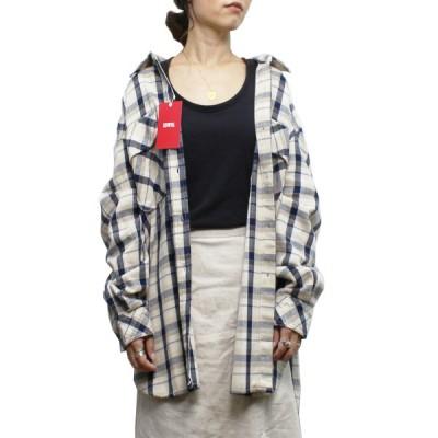 【送料無料】 Miss EDWIN ミス エドウィン MT2022-16 CHECK SHIRT チェックシャツ FLANNEL フランネル TOPSスタンダード LADIES レディース BEIGE ベージュ M-L