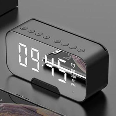Bluetooth5.0スピーカーFMラジオミラーLED目覚まし時計USB充電器ホームブラック