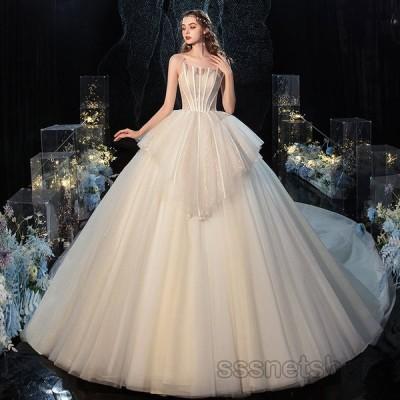 ウェディングドレス 結婚式 大きいサイズ 花嫁ドレス 披露宴 パーティードレス トレーンライン プリンセスドレス ノースリーブ 挙式 2020新作【sssnetshop】