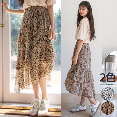 【ENVYLOOK】👗韓国ファッションカジュアルECサイト1位 ENVYLOOK💖ブチ模様斜線フリルロングスカート💖ONE COLOR 送料無料