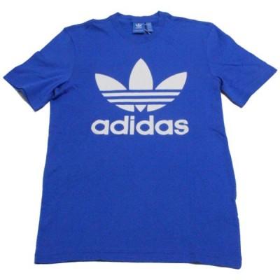 訳あり アディダス 海外 オリジナルス トレフォイル ロゴ Tシャツ 青 白 BK7161 半袖 ADIDAS TOREFOIL LOGO TEE ブルー デカロゴ 新品