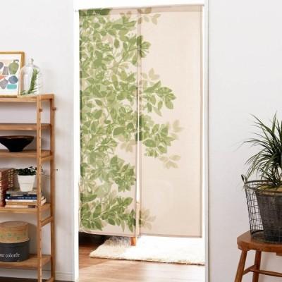 カーテン 安い おしゃれ のれん カフェカーテン 両面プリントで裏面もきれいな北欧風リーフ柄ののれん カラー グリーン