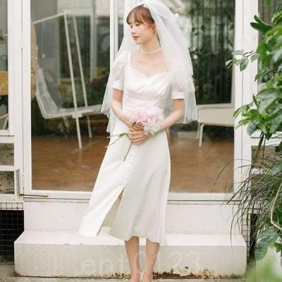 花嫁ミニドレスウェディングドレス可愛い半袖簡約花嫁二次会演奏会パーティドレスプリンセス