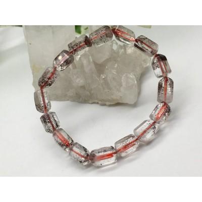 天然石 レッドファントム水晶 タンブル型 ブレスレット NO12711
