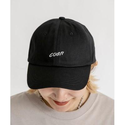 coen メンズ コーエンロゴ刺繍キャップ 帽子 ブラック