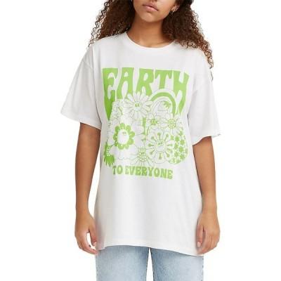 リーバイス シャツ トップス レディース Levi's Women's Roadtrip Graphic T-Shirt EarthToEveryoneWhite