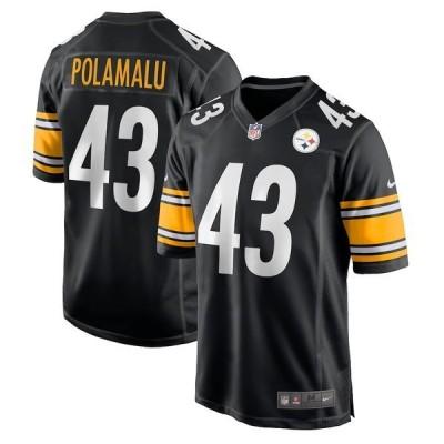 ナイキ メンズ Tシャツ トップス Troy Polamalu Pittsburgh Steelers Nike Retired Player Game Jersey Black
