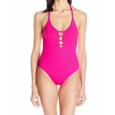 La Blanca ラブランカ スポーツ用品 スイミング La Blanca NEW Pink Womens Size 8 Lattice Cutout One-Piece Swimsuit