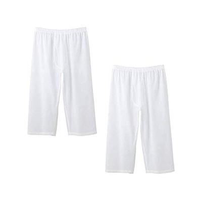 [バンタン] ステテコ 2枚セット 高島ちぢみ メンズ 日本製 白 綿100% クレープ生地 7分丈 ズボン下 ステテコ (シロ 2枚組み M)