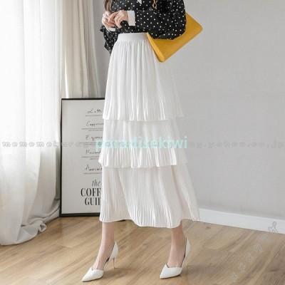 スカートロングスカートティアードスカート春夏フリーサイズ体型カバーウエストゴムフレアスカートレディースコーデ30代ミドルAラインスカート