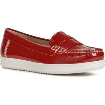 ジェオックス GEOX レディース ローファー・オックスフォード モックトゥ シューズ・靴 Genova Moc Toe Loafer Red Leather