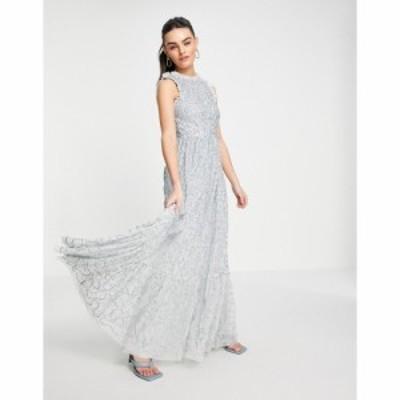 マヤ Maya レディース ワンピース マキシ丈 ワンピース・ドレス All Over Embellished Maxi Dress With Lace Top In Ice Blue アイスブル