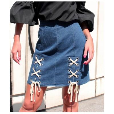 【anap Latina】 Wレースアップデザイン台形スカート