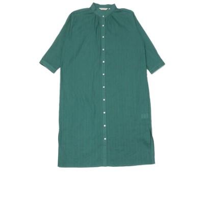レディース ウィメンズ カジュアル 七分袖 ロングシャツ スタンド衿 グリーン×無地調