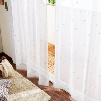 【まとめ買いでお得】【99サイズ】スパンコール刺繍の小花柄ボイルカーテン